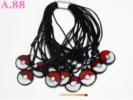 Kalung Hitam Bola Pokemon / lusin (A-4575)