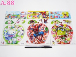 Stiker Kitty Spongebob Spiderman 3D / 6 lembar ( A-5251 )