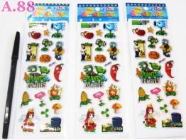 Stiker Gliter Zombie Plants  / 10 lembar ( A-5471 )