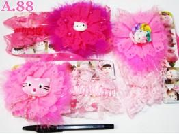 Bandana Kitty Renda Bulu / 6pcs (A-6067)