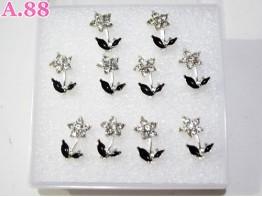 Giwang Bunga Daun Hitam / 1 kotak ( A-6151 )