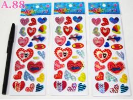 Stiker Gliter Love / 10 lembar ( A-6248 )