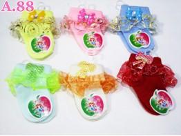 Kaos Kaki Bayi Renda Gliter Pita Kupu / 6 pasang ( A-6250 )