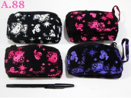 Dompet Hp Bludru Kitty Tiga Resleting/lusin (A-7157)