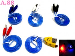 Kabel Data Smile Transparan Bunglon / 3 pcs ( A-8159 )