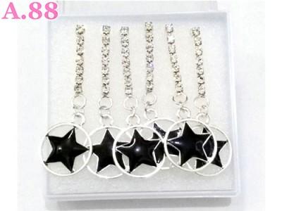 Anting Bintang Hitam Jurai Mata / 1 box ( A-8371 )