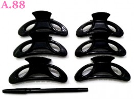 Jepit Salon Hitam Sabit Bolong / lusin ( A-8535 )