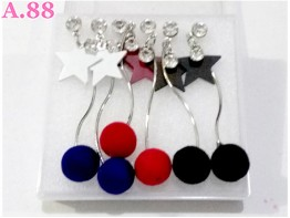 Anting Bintang Pompom /box (A-8559)