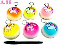 Gantungan Kunci Squisi Bakpao Unicorn / 3 pcs ( A-8620 )