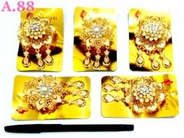 Bros Bunga Emas Jurai Tiga /lusin (A-8654)