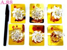 Ring Jilbab Bunga Silver Mata/lusin (A-8685)