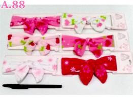 Bandana Anak Pita Pink Corak /lusin (A-8691)