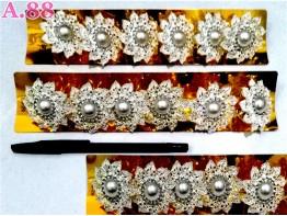 Ring Jilbab Bunga Silver Mote /lusin (A-8715)