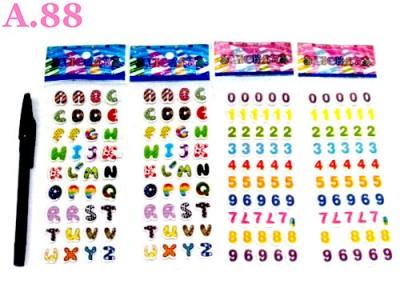 Stiker Timbul Angka Huruf /10lembar (A-8797)