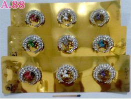 Ring Jilbab Sabit Mata Bunga /lusin (A-8976)
