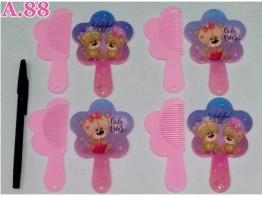 Kaca Sisir Bunga Gagang Bear / 1 lusin ( A-9113 )