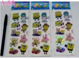 Stiker  Gliter Spongebob / 10 lembar ( A-9123 )