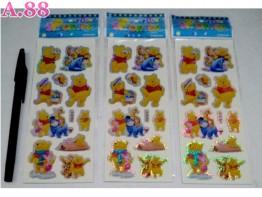 Stiker Gliter Pooh / 10 lembar ( A-9124 )