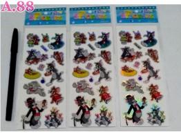 Stiker Gliter  Tom & Jerry / 10 lembar ( A-9127 )