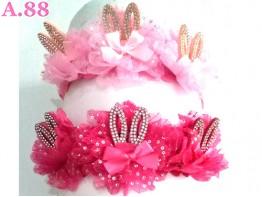 Bando Pink Anak Telinga Mata /6pcs (A-9296)