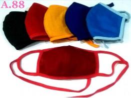Masker Kain Warna  Polos  Lipatan Tengah/lusin (A-9365)