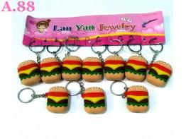 Gantungan Kunci Hamburger  Karet  /lusin  (A-9374)