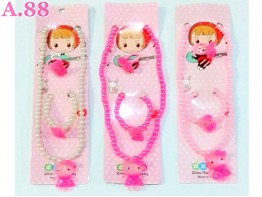 Kalung Gelang Cincin Mote  Kitty /6set (A-9427)